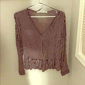Black and white striped blouse from Zara